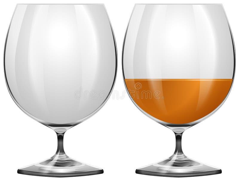 Gläser leeren sich und mit Getränk stock abbildung