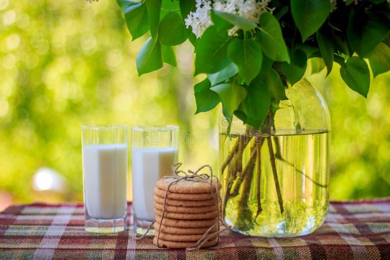 Gläser mit Milch, einem Bündel Plätzchen und einem Blumenstrauß in einem Vase lizenzfreies stockfoto
