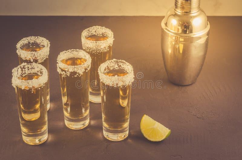 Gläser Tequila und Stücke Kalk und Schüttel-Apparat/Gläser Tequila und Stücke des Kalkes und des Schüttels-Apparat auf einem dunk lizenzfreie stockbilder