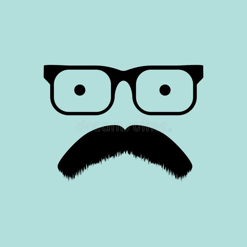 Gläser und Schnurrbart flaches dasign leerer Hintergrund stock abbildung