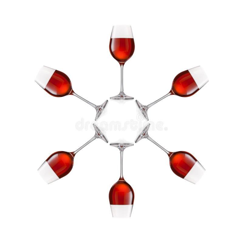 Gläser Wein lokalisiert auf weißem Hintergrund lizenzfreie stockfotos