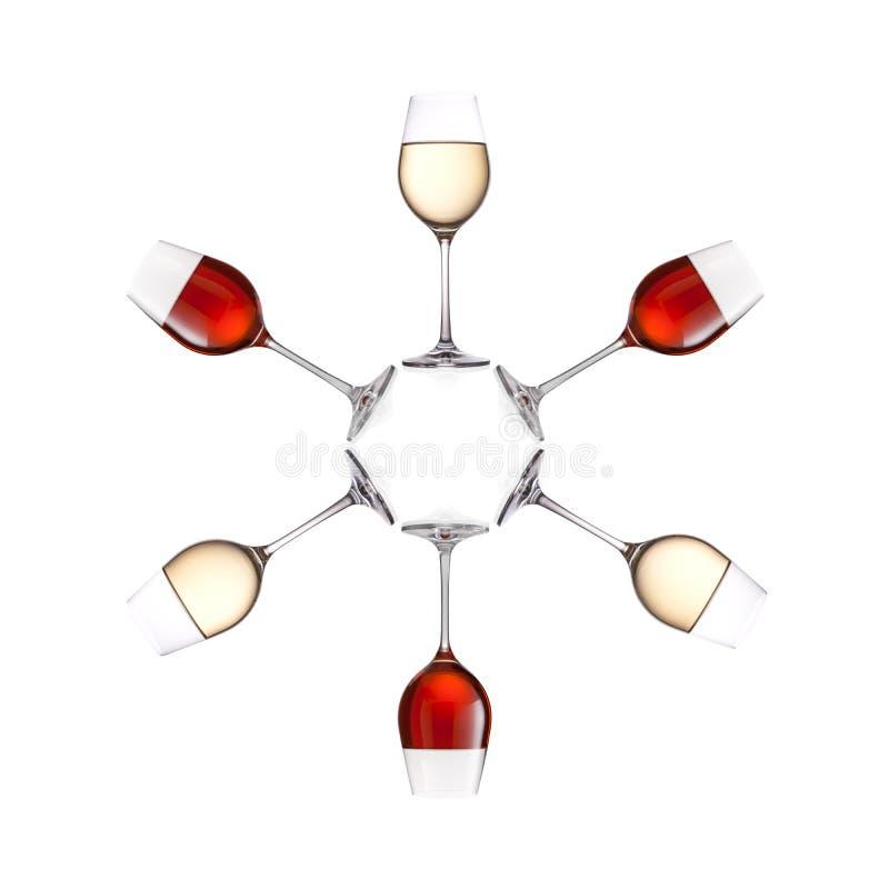 Gläser Wein lokalisiert auf weißem Hintergrund stockfoto