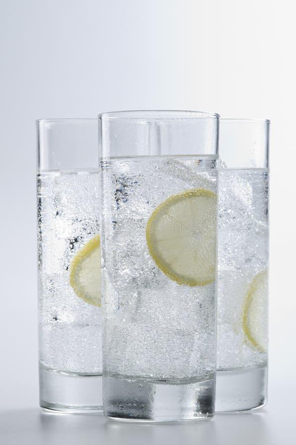 Gläser wendet mit Sodawasser und Eiswürfeln ein stockbild
