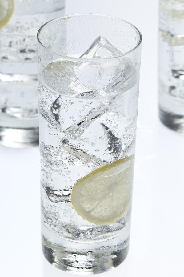 Gläser wendet mit Sodawasser und Eiswürfeln ein lizenzfreie stockbilder