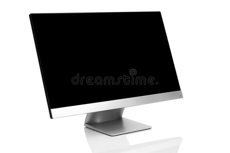 Glätten Sie moderne Computeranzeige auf weißem Hintergrund mit Reflexion lizenzfreie abbildung