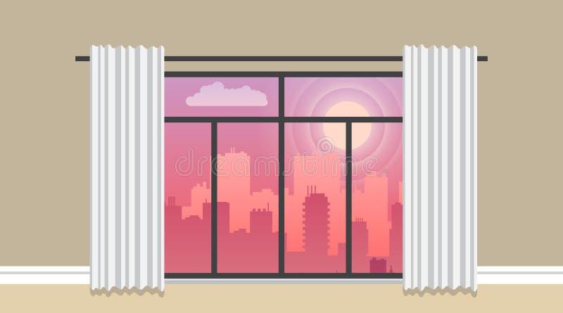 Glättung der flachen Illustration des Stadtpanorama-Vektors, Stadtbild auf einem Sonnenuntergang lizenzfreie abbildung