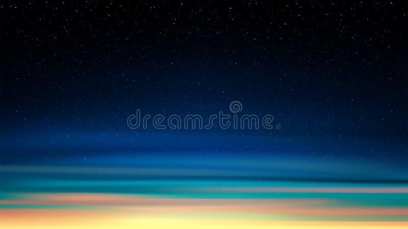 Glättung des glänzenden sternenklaren Himmels, Nachthintergrund mit Sternen, Raum, Sonnenunterganghimmel lizenzfreie abbildung