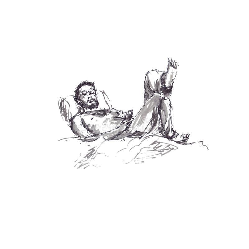 Glättung von entspannenden Restmännern im Bett mit Telefon, Skizzenaquarell und Tinte lizenzfreie abbildung