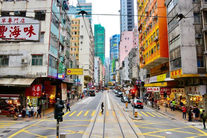 Glåmig sikt av Sheung, Hong Kong fotografering för bildbyråer