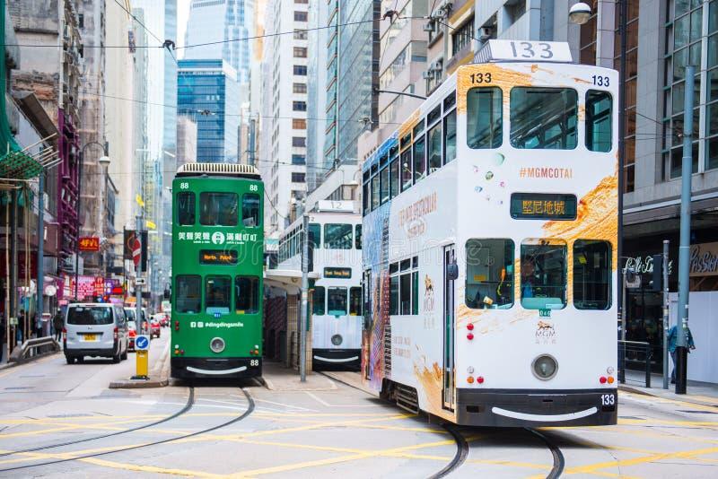 Glåmiga Sheung, Hong Kong - Januari 14, 2018: Hong Kong spårvagn för tra arkivbilder