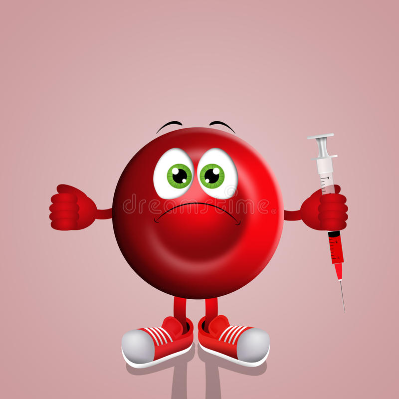 Glóbulo rojo con la jeringuilla stock de ilustración