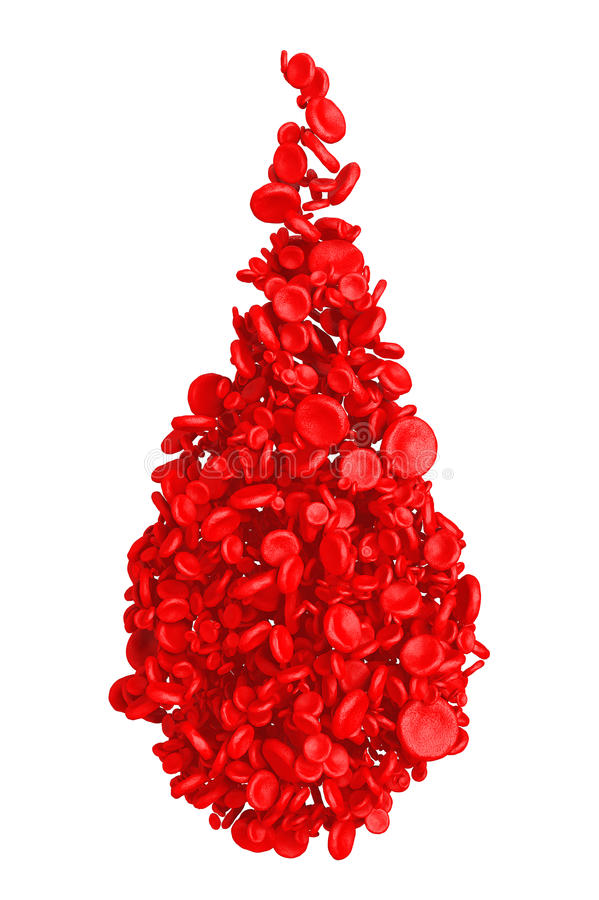 Glóbulos rojos del alto detalle en la forma de la gota de sangre representación 3d ilustración del vector