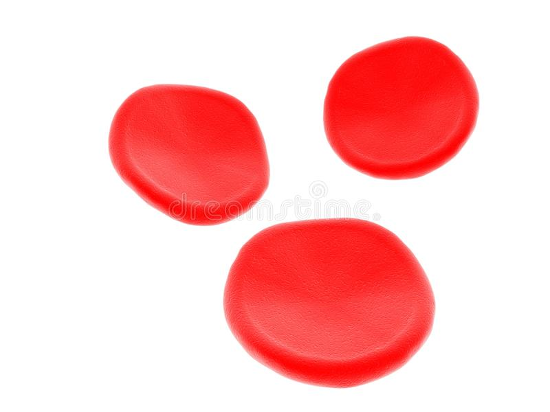 Glóbulos rojos en el fondo blanco 3d rinden stock de ilustración