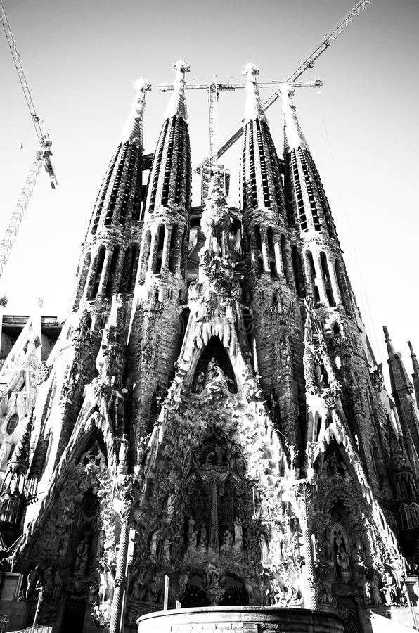 Glória familiar da fachada de Sagrada fotos de stock royalty free