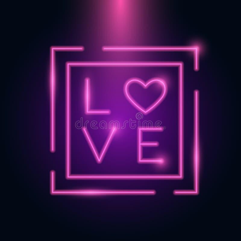 Glöd för ram för neon för hjärta för förälskelsebokstav i mörkret Mall för valentindag14 Februari internationell berömmar stock illustrationer