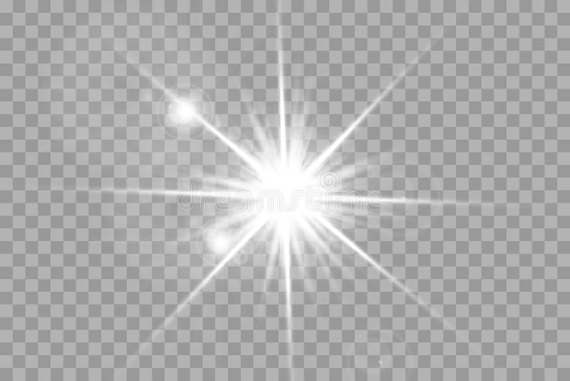 Glöd isolerade den vita genomskinliga uppsättningen för ljus effekt, linssignalljuset, explosion, blänker, fodrar, solexponeringe stock illustrationer