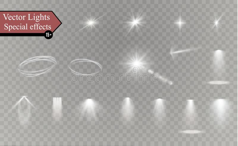 Glöd isolerade den vita genomskinliga uppsättningen för ljus effekt, linssignalljuset, explosion, blänker, fodrar, solexponeringe vektor illustrationer