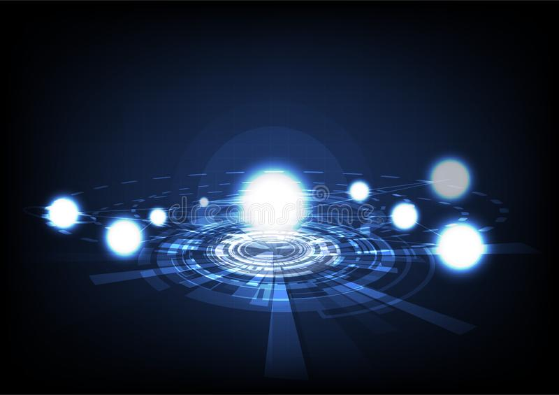 Glöda för partiklar, molekylar och astronomisolsystembegrepp royaltyfri illustrationer