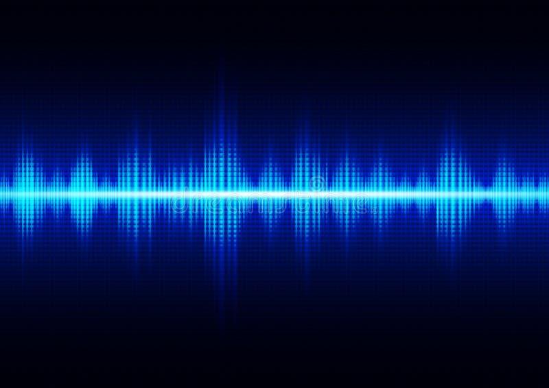 Glöda mörkt - blå digital solid våg, teknologiabstrakt begreppbakgrund vektor illustrationer