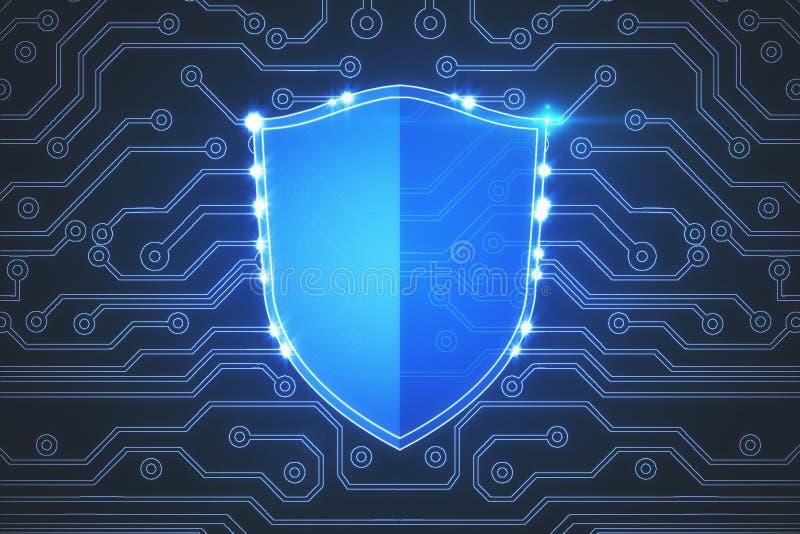 Glödande antivirussköldbakgrund royaltyfri illustrationer