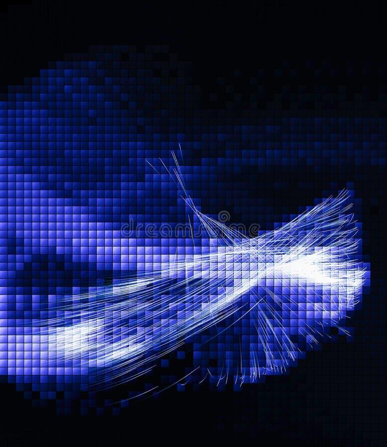 Glödande bakgrund för blå techno stock illustrationer