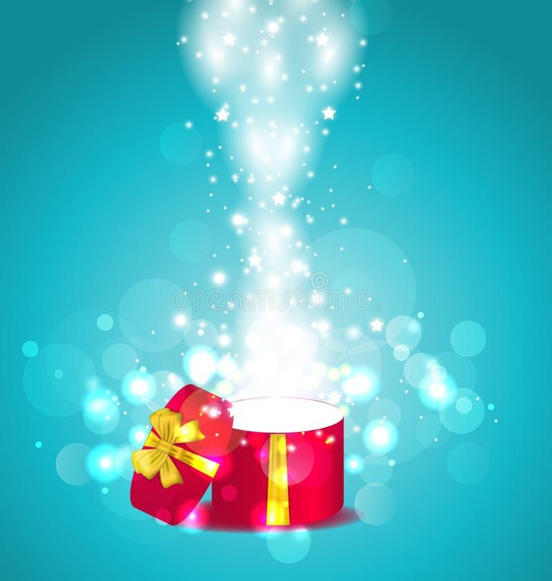 Glödande bakgrund för jul med den öppna runda gåvaasken vektor illustrationer