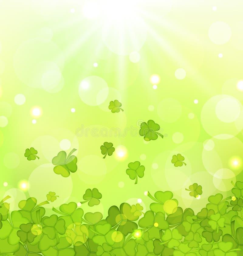 Glödande bakgrund med treklöverer för Sts Patrick dag royaltyfri illustrationer