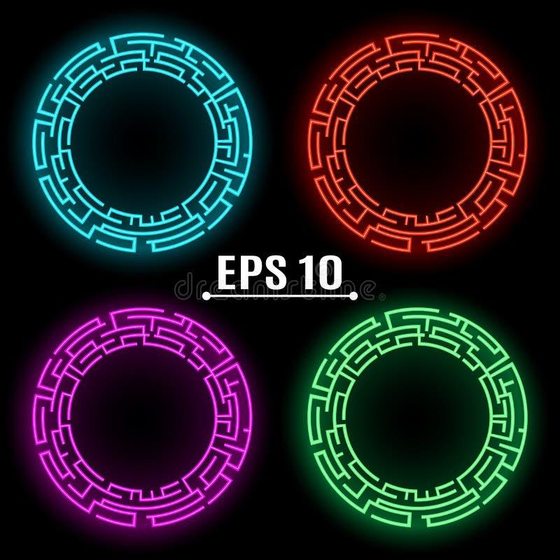 Glödande baner för neon av olika färger Techno geometrisk vektorcirkel modern vetenskap abstrakt bakgrund royaltyfri illustrationer