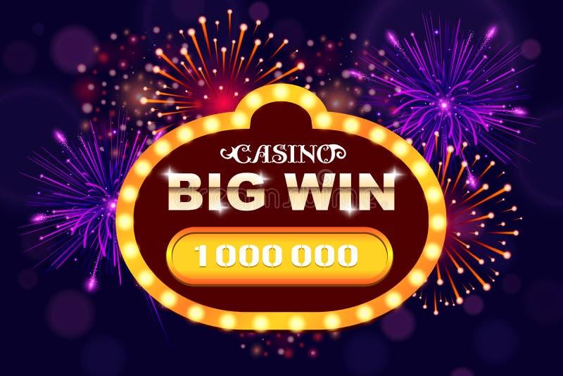 Glödande baner för stor seger för online-kasino, springa, kortspel, poker eller roulett Bakgrund för jackpottprisdesign Vinnare vektor illustrationer
