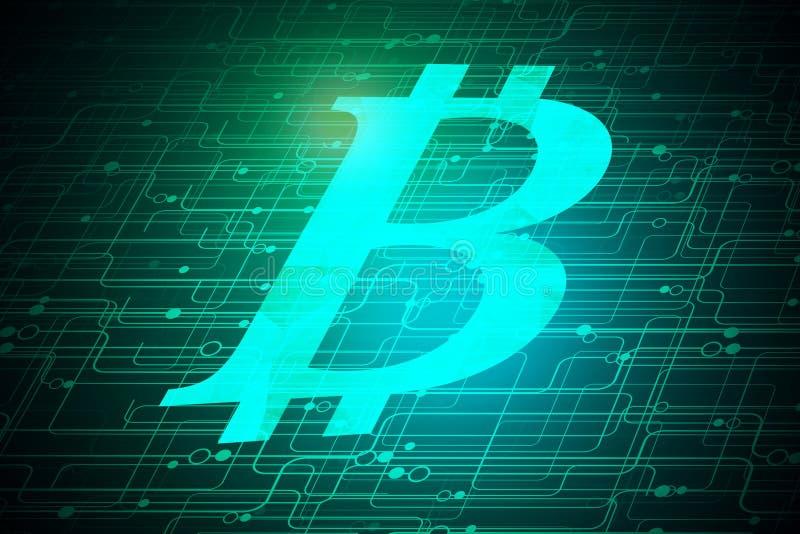 Glödande bitcoinbakgrund royaltyfri illustrationer