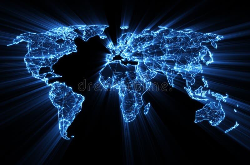 Glödande blå världsomspännande rengöringsduk på världskarta royaltyfri illustrationer