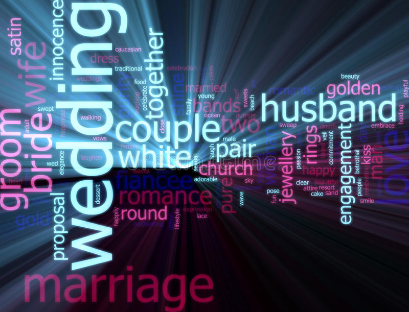 glödande bröllopord för oklarhet royaltyfri illustrationer