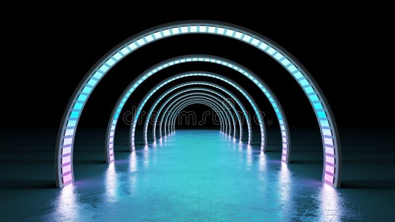 Glödande cyrclelinjer tunnelneonljus 3d för abstrakt minsta bakgrund att framföra vektor illustrationer