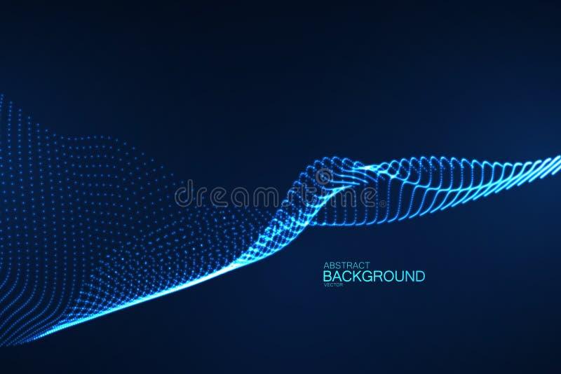 glödande digital våg för neon 3D av partiklar royaltyfri illustrationer