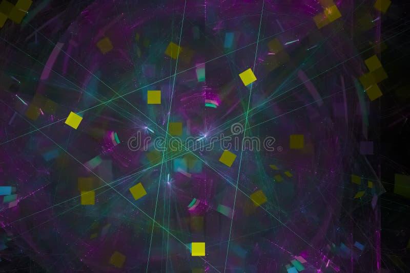 Glödande färgstänk för design för explosion för fantasi för makt för färgstänk för bakgrund för textur för stil för kosmosvetensk stock illustrationer
