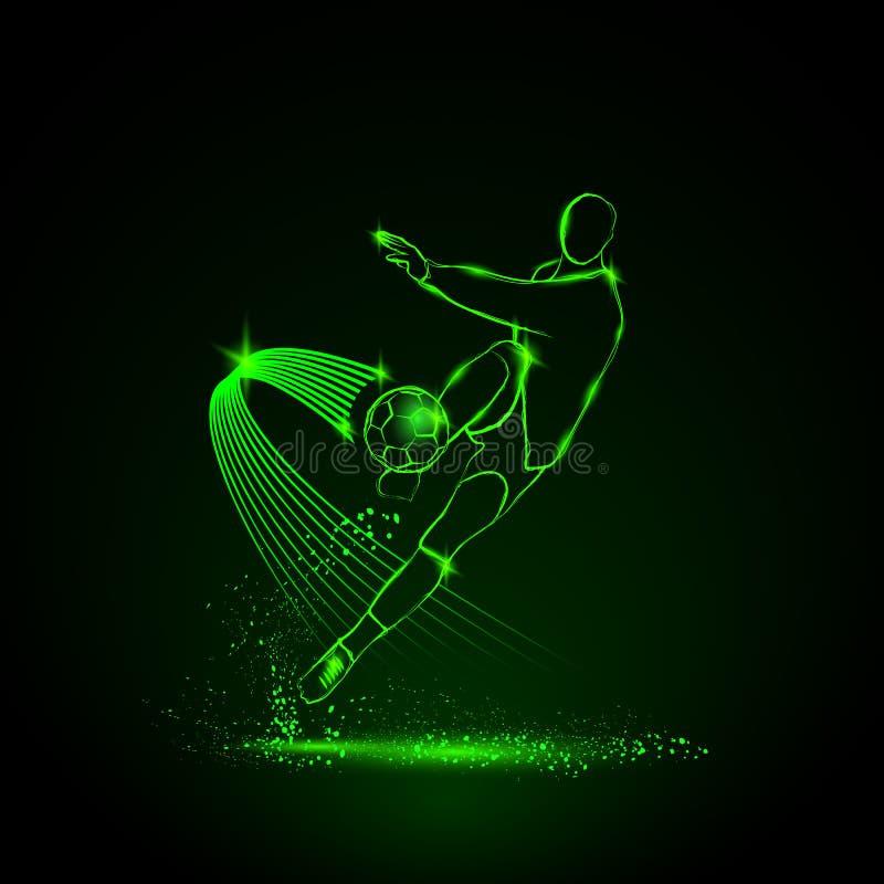 Glödande fotbollsspelare som slogg bollen royaltyfri illustrationer