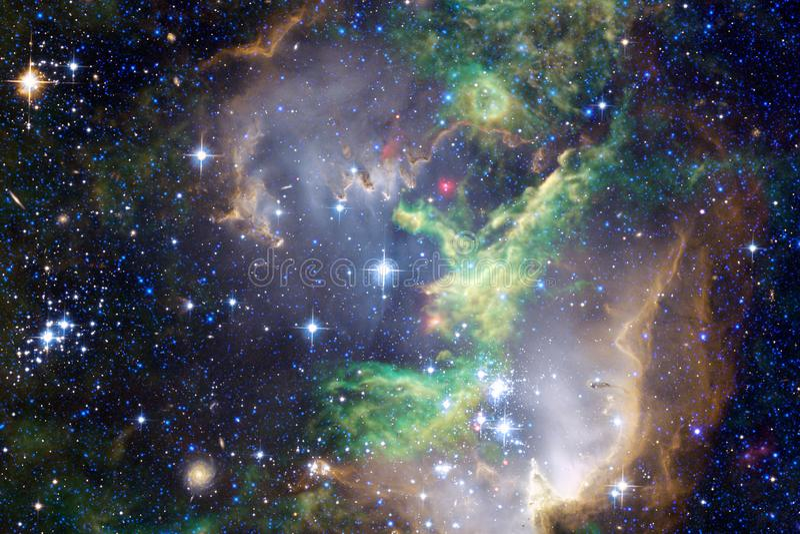 Glödande galax, enorm sciencetapet arkivfoton