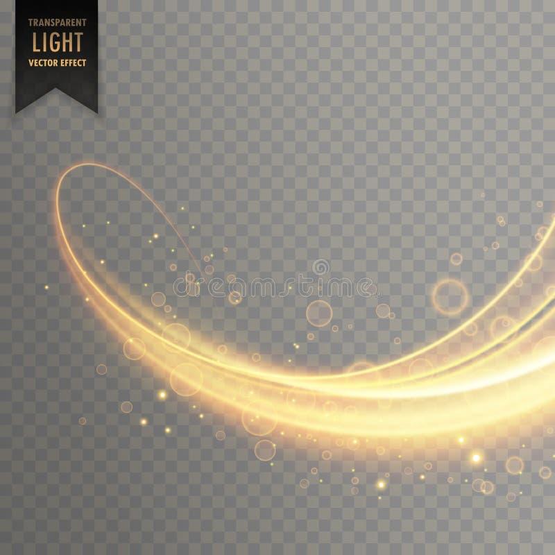 Glödande genomskinlig ljus effekt i guld- färg vektor illustrationer