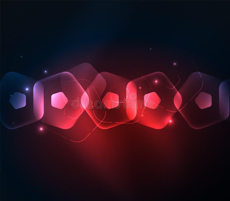 Glödande glass genomskinliga pentagans, geometrisk abstrakt digital bakgrund royaltyfri illustrationer