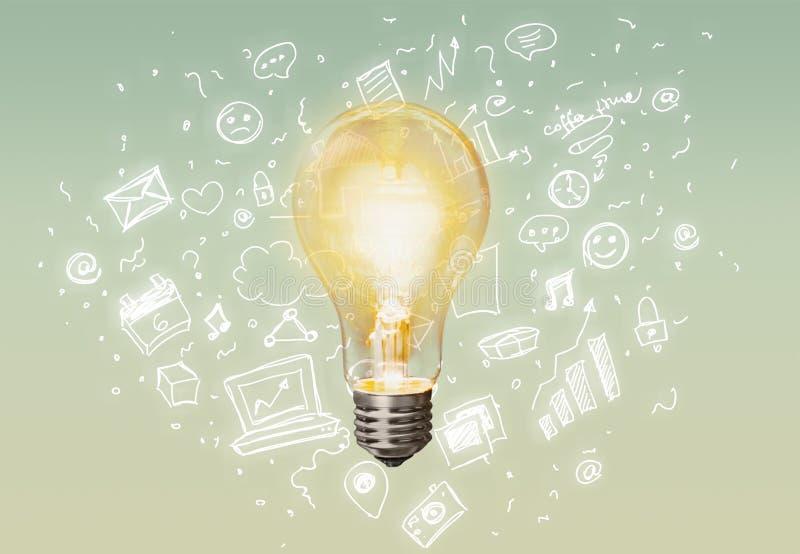 Glödande glass ljus kula på bakgrund stock illustrationer
