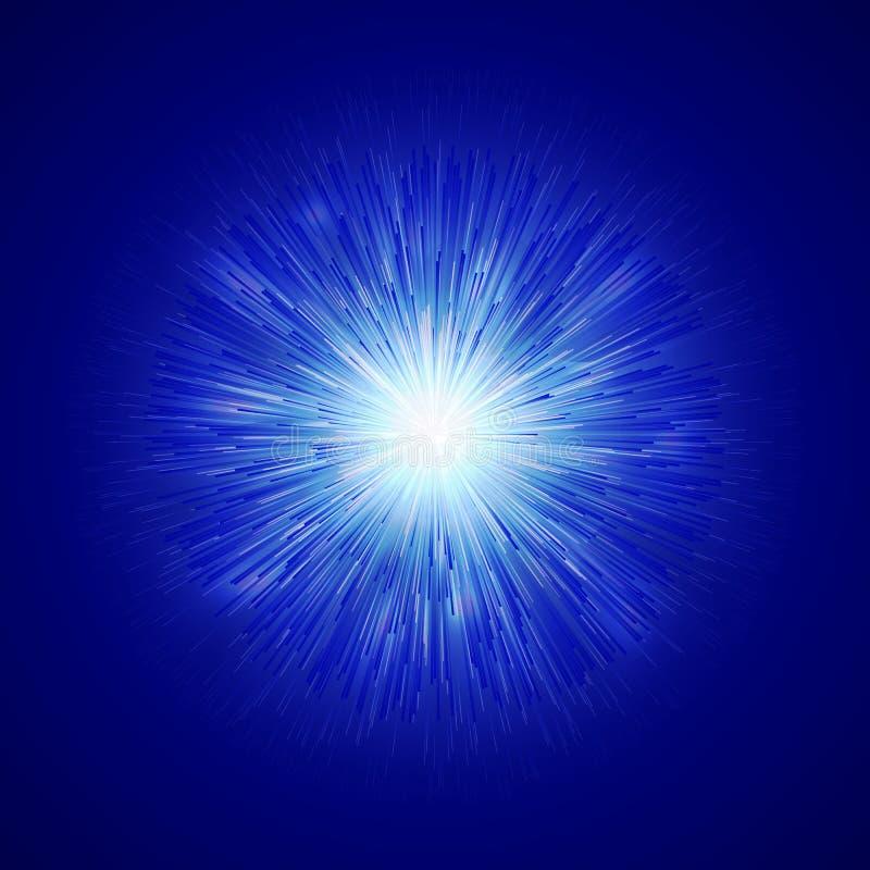 Glödande gnistrandebakgrund för ljus effekt Magisk glödbrusandetextur Magiska strålar av ljus effekt i explosionen på royaltyfri illustrationer