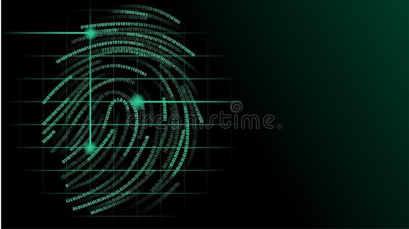 Glödande grön futursitic illustration för binär fingeravtryckbildläsning stock illustrationer