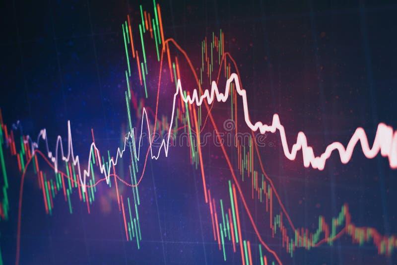 Glödande grafer för Forex av olika färger som visar finansmarknadläge på abstrakt digital bakgrund royaltyfri illustrationer