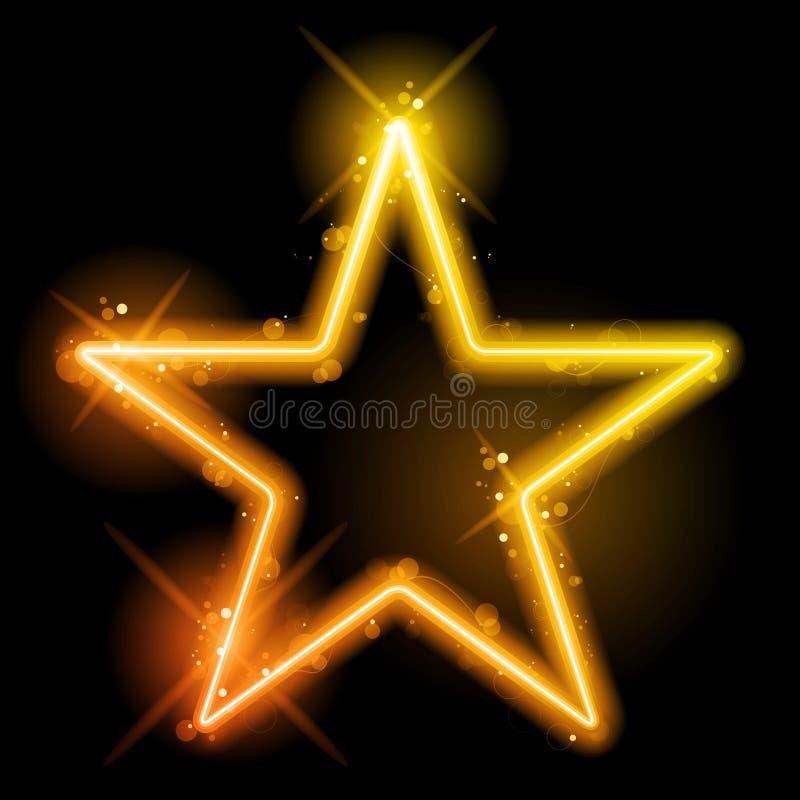 Glödande gul orange stjärna för neon royaltyfri illustrationer