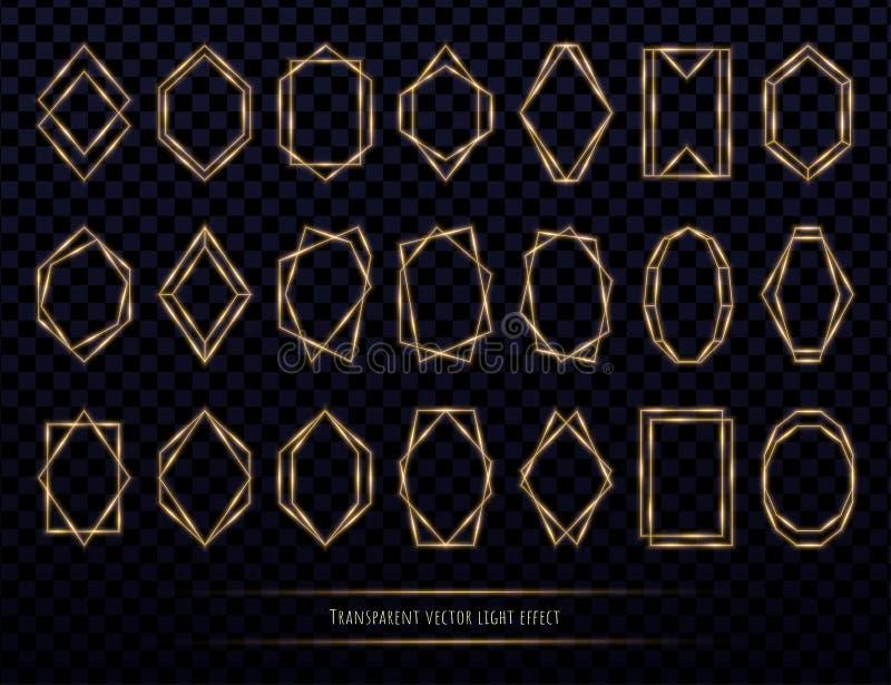 Glödande guld- polygonal ramuppsättning som isoleras på genomskinlig bakgrund stock illustrationer