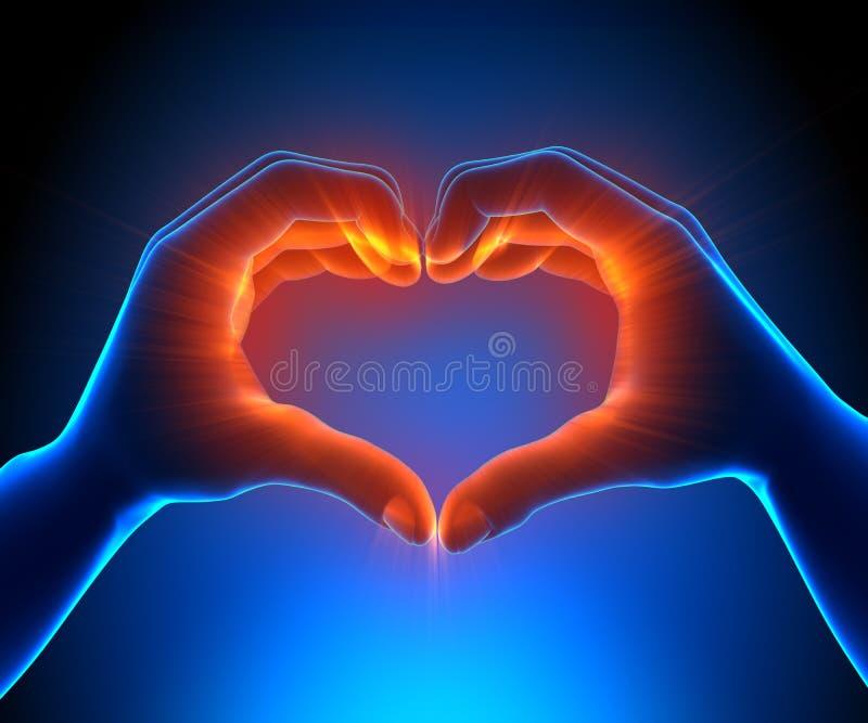 Glödande hjärta shapped händer vektor illustrationer