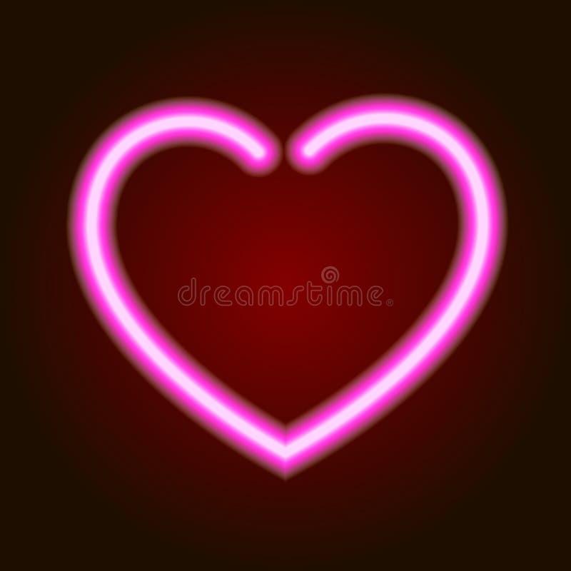 Glödande hjärtasymbol för rosa neon av förälskelse på mörk bakgrund av illustrationen stock illustrationer