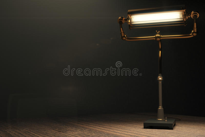 Glödande lampa i stilen av steampunk på en trätabell stock illustrationer