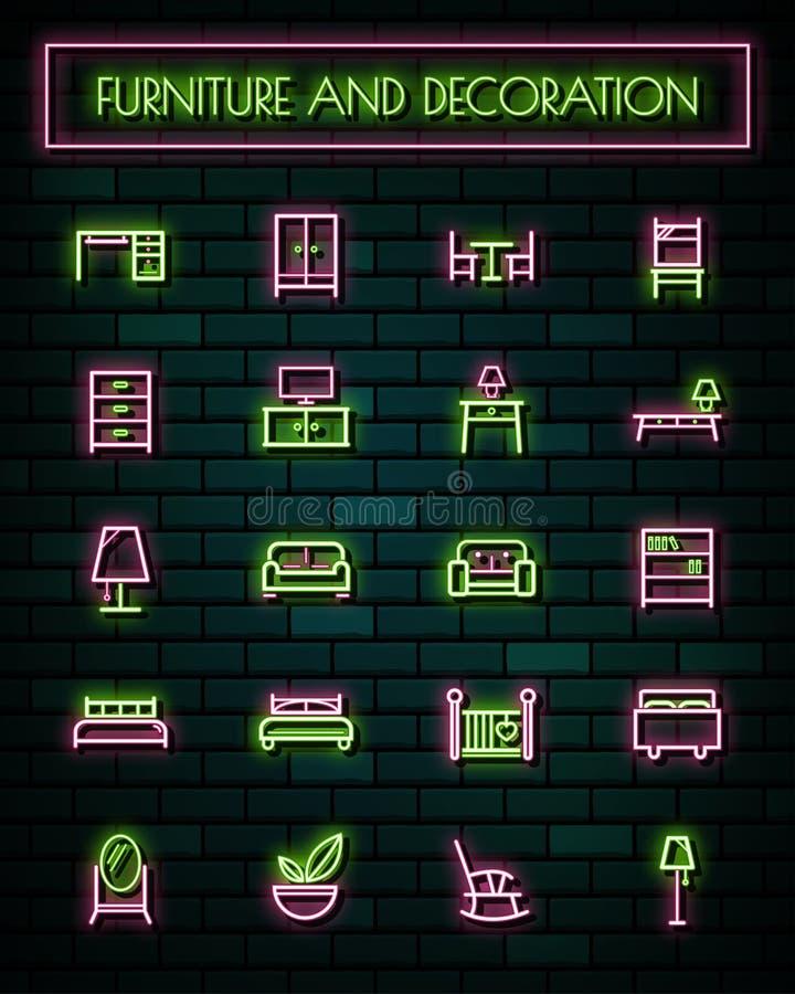 Glödande linje symbolsuppsättning för möblemang och för tunt neon för garnering också vektor för coreldrawillustration royaltyfri illustrationer