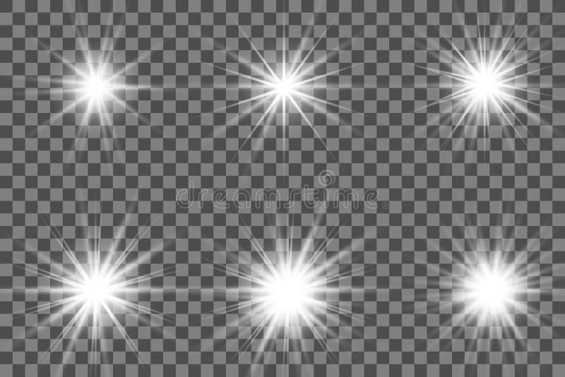 Glödande ljus bristningsexplosion för vit med genomskinligt royaltyfri illustrationer